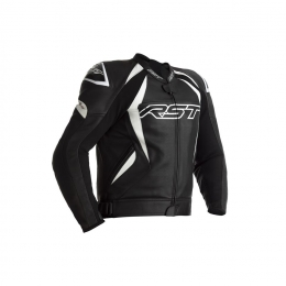 RST Blouson Tractech EVO 4 CE cuir noir bandes blanches HOMME